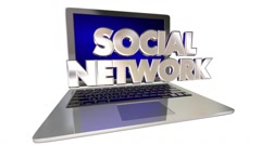 Stock Video Footage of Social Network Laptop Computer Linking Friends Communication 3D Words