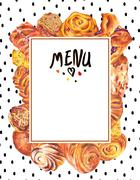 Hand drawn baking card menu - stock illustration