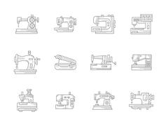 Sewing machines flat line vector icons set Stock Illustration