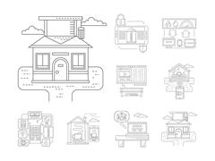 Smart house detailed flat line vector icons Stock Illustration