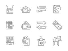 Linear vector icons for commission shop - stock illustration