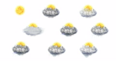 Weather Forecast Icons Set, on a white background - stock footage