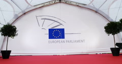 European Parliament red carpet Stock Footage