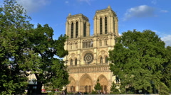 Notre Dame cathedral at late evening - stock footage