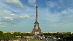 Timelapse famous Eiffel Tower seen from Trocadero square, Palais de Chaillot, Stock Footage