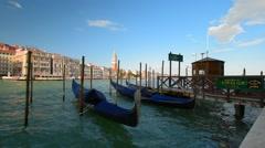 Venice, Italy. Venetian Gondolas on the Grand Canal Stock Footage