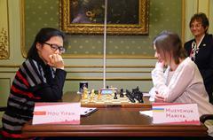 FIDE Women's World Chess Championship Match Mariya Muzychuk vs Hou Yifan Stock Photos