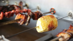 Cooking on an electric grill various meats Stock Footage