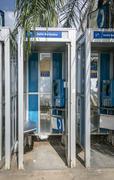 Telephone Boxes in Bridgetown, Barbados Stock Photos
