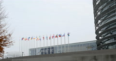 All European Union and Vatican flags waving Stock Footage