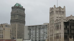 Detroit Book Tower Building and buildings Stock Footage