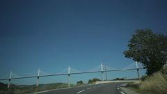 Travel under the Millau bridge. Stock Footage