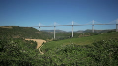 Panoramma from the observation deck on Millau bridge. Stock Footage