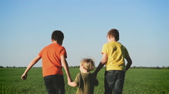 Happy young children  running around the field on nature Stock Footage