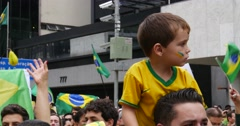 Protesters marching on Paulista Avenue against the corruption in Brazil Stock Footage