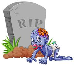 Baby zombie at the gravestone - stock illustration