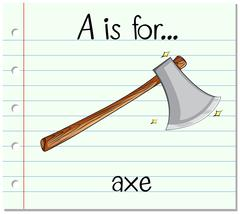 Flashcard letter A is for axe - stock illustration