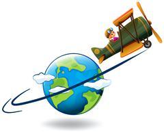 Girl flying aeroplane around the world Stock Illustration