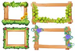 Wooden frames with vine and flowers - stock illustration