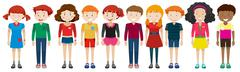 Teenage boys and girls standing - stock illustration