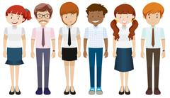 People in different costumes - stock illustration