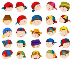 Boy heads with facial expressions Stock Illustration