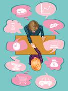 Business people making agreement - stock illustration