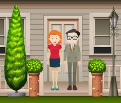 Couple standing in front of the house - stock illustration