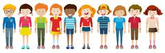 Simple characters of boys and girls - stock illustration
