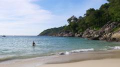 Phuket island famous private freedom beach panorama 4k thailand Stock Footage