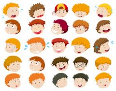 Boys head with different emotions Stock Illustration