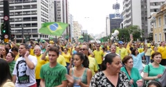 Protesters marching on Paulista Avenue against the corruption in Brazil - stock footage