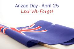 ANZAC Day Australian Folded Flag - stock photo