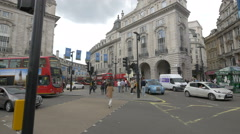 Red buses on Regent Street in London Stock Footage