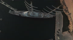 Aerial Shot - High angle shot of a luxurious Yacht Stock Footage