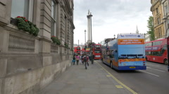 Nelson's Column seen from Whitehall in London Stock Footage