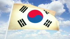 Flag South Korea Stock Footage