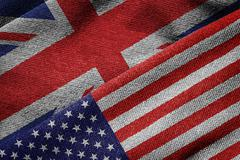 Flags of USA and Britain on Grunge Texture Stock Photos