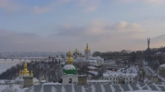Black Crows Are Flying Upon Kiev-Pechersk Lavra Left Bank of Dnieper Paton - stock footage
