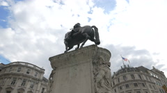 Low angle view of Prince Albert Equestrian Statue in London Stock Footage