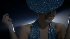 Showgirl Performance Luxury Look In Smoke Lights Slow 40 - stock footage