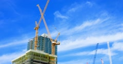 4K, Construction industry development site with cranes in Los Angeles Downtown Stock Footage