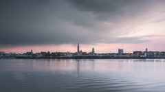 Antwerp skyline time lapse from day to night Stock Footage
