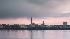 Antwerp skyline timelapse day to night zoom out Stock Footage