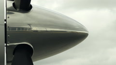Airplane Propeller Starting to Spin, Pan from Side Stock Footage