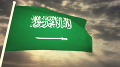 Flag Saudi Arabia Stock Footage