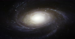 Messier 81 Galaxy Rotates and Zooms in Slowly in Space Stock Footage