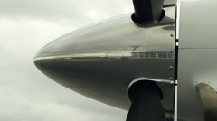 Airplane Propeller Starting to Spin, Slow Zoom Out Stock Footage