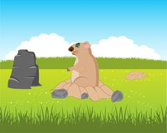 Animal woodchuck beside burrows Stock Illustration