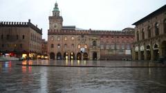 Bologna Piazza Maggiore during the rain Stock Footage